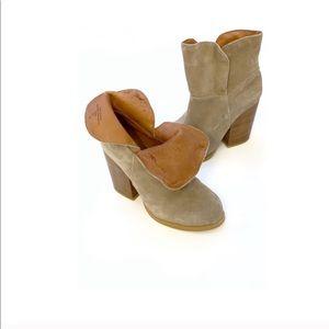 Catherine Malandrino Boot Tan Suede Folded Booties